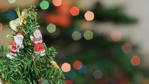 Christmas tree at background blurred night lights Stock Video Footage