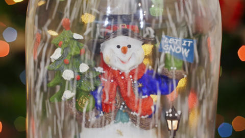 Snowman and snowflakes. Let it snow. Snow flakes Footage