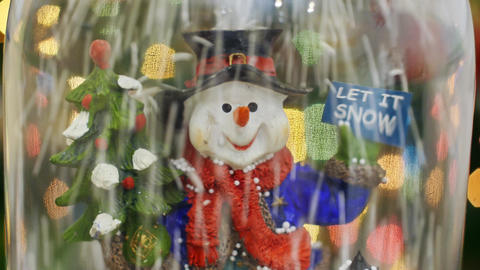 Snowman and snowflakes. Let it snow. Snow flakes Stock Video Footage