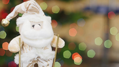 Santa Claus on skis at bokeh lights. Title area Footage