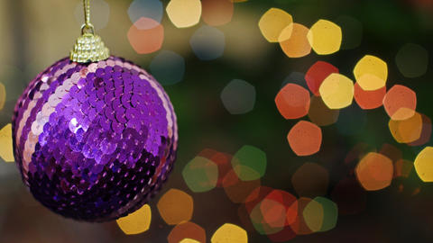 Christmas blue ball at bokeh lights. Title area Stock Video Footage
