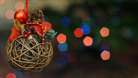 Christmas wooden toy at bokeh lights. Title area Footage