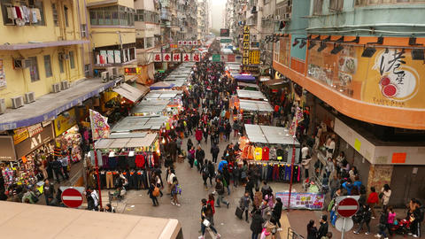 Top view of street marketplace, stalls under shelter in line Stock Video Footage