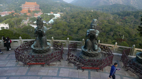 Three statue from Six Offerings bronze group of Tian Tan... Stock Video Footage