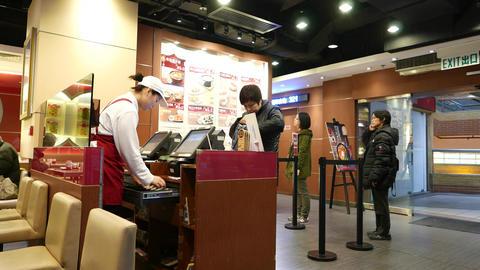 Cashier desk in fast-food restaurant Stock Video Footage