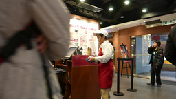 Cashier Desk In Fast-food Restaurant stock footage