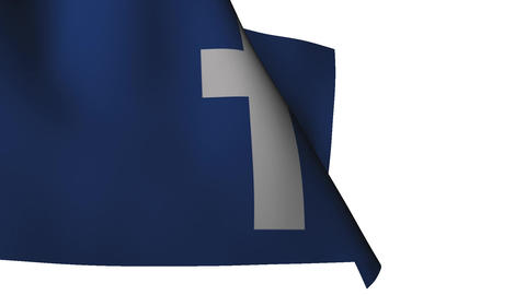 Flag Facebook white background Stock Video Footage