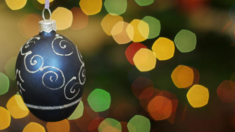 Christmas blue ball shakes at bokeh. Title area Stock Video Footage