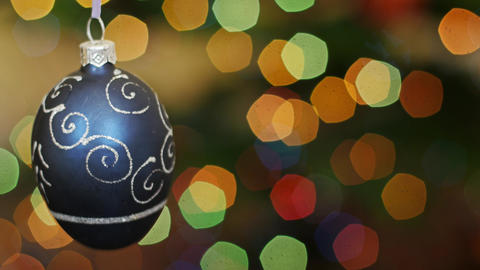 Christmas Blue Ball Shakes At Bokeh. Title Area stock footage
