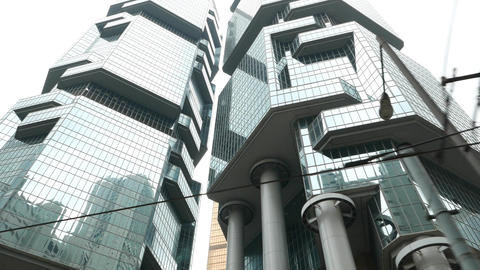 Modern skyscraper walled with refractive glass curtain... Stock Video Footage