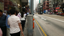 POV walk along pedestrian sideway, chinese people come... Stock Video Footage