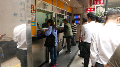 People queue currency exchange office cashier, outdoor... Stock Video Footage