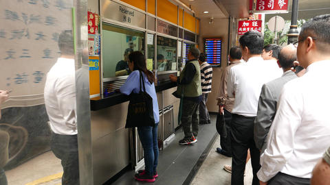 People queue currency exchange office cashier, outdoor money change Footage