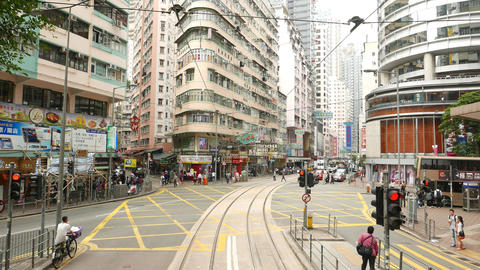 Inner city junction, double decker bus cross Johnston road, drive to WanChai Footage