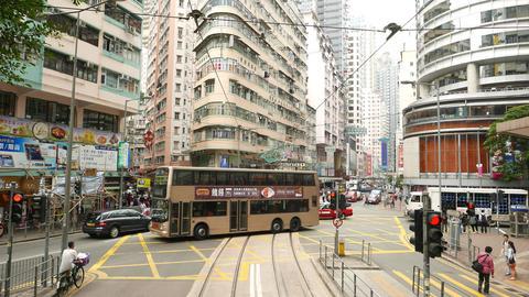 Inner city junction, double decker bus cross Johnston... Stock Video Footage