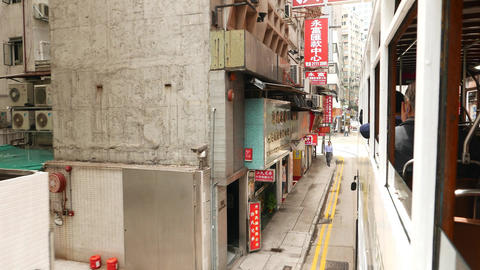 Chinese signboards slide beside, as seen from moving... Stock Video Footage