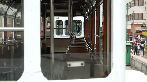 Empty carriage of double decker tram, view through window... Stock Video Footage