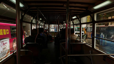 First person view from rear deck of tram, slowly drive... Stock Video Footage