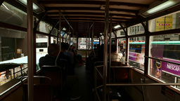 First person view from rear deck of tram, slowly drive through Hong Kong street Footage