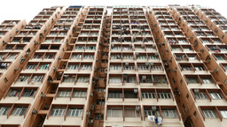 Heavily occupied tall apartments building, high angle... Stock Video Footage