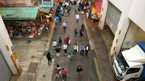 Bowrington road market bystreet from above, citizen walk... Stock Video Footage
