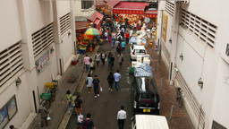 Citizen come through Wan Chai road to Bowrington Market area Stock Video Footage