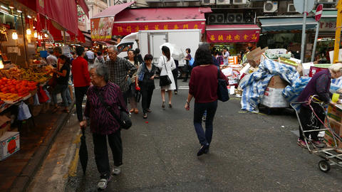 POV camera walk through Bowrington market area, Wan Chai... Stock Video Footage