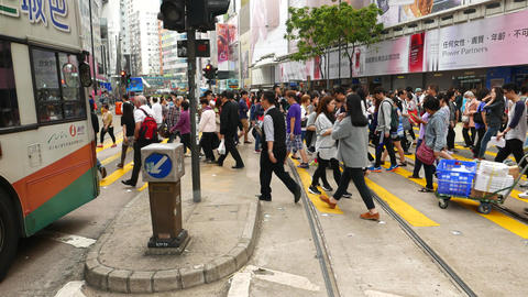 Pedestrian crossing people walk trucking shot crowded... Stock Video Footage