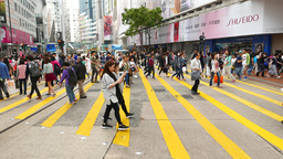 Pedestrian crossing people walk trucking shot crowded zebra area peak hour Footage