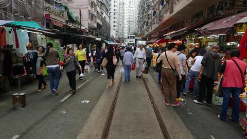 Tram move towards on market street full of people, POV... Stock Video Footage