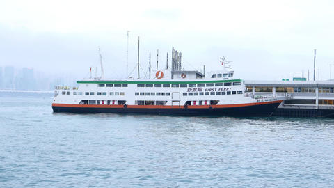 First ferry vessel Xin Guang moored at North Point Ferry Pier Footage