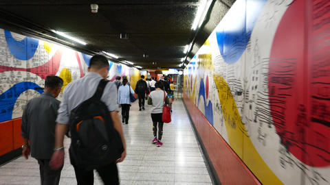 POV come through underground passage to metro station Stock Video Footage