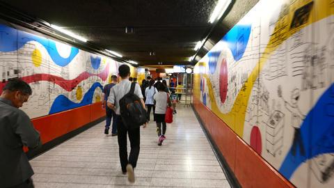 POV Come Through Underground Passage To Metro Station stock footage