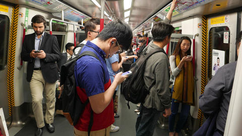 Man receive phone call while travel at metro train, POV... Stock Video Footage