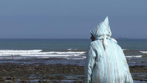 Islamic woman at beach Stock Video Footage