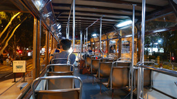 Traditional double decker tram interior, night time,... Stock Video Footage