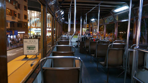 POV ride within old double decker tram at night time,... Stock Video Footage