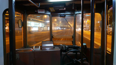 Traditional tramway interior, loudly drive through night... Stock Video Footage