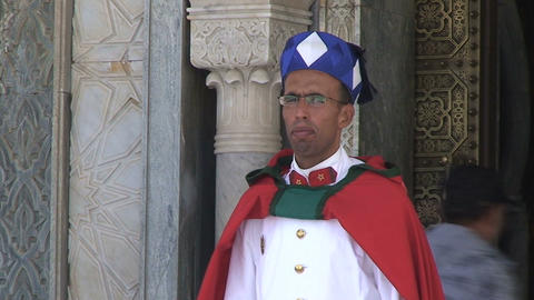 Guard at Mausoleum of Mohammed V Stock Video Footage