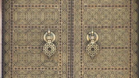Door at Mausoleum of Mohammed V Stock Video Footage
