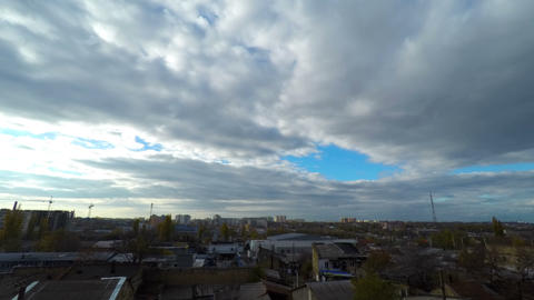 Clouds Moving Over the City Footage