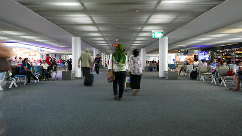 Don Mueang airport lounge passage, passengers walk through, timelapse Footage
