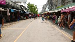 First person view walk through Chatuchak Weekend market alley Live Action