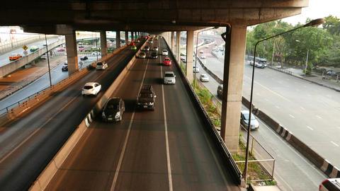 High Quality Truck Slide Shot Above Modern Highway Traffic stock footage
