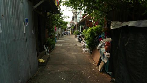 First person view camera walk along tiny alley, Sao Chingcha subdistrict Footage