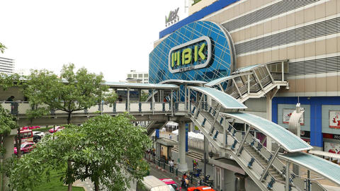MBK Center facade and skyway passage, establishing shot, day time Footage