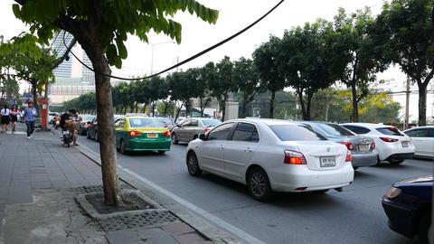POV camera move on sideway Ratchadaphisek road, evening traffic jam on driveway Footage