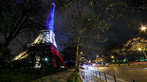 A Timelapse View on Eiffel Tower Paris in France by Night Footage