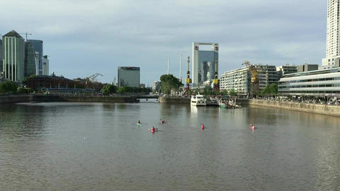 Kayaks recreation in Madero Harbor Buenos Aires City Footage