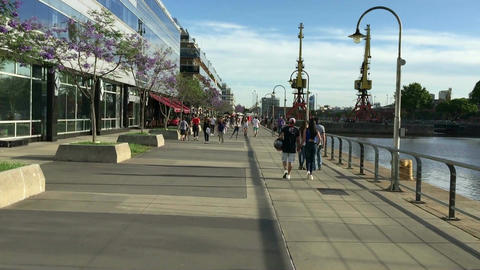 POV walk trough Madero Harbor in Buenos Aires City on spring sunday Footage